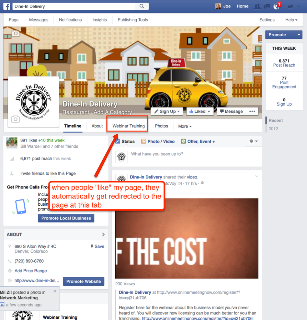 facebook marketing tip step 2