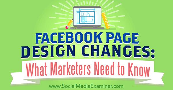 facebook page design changes